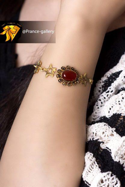دستبند زیر خاکی عقیق قرمز