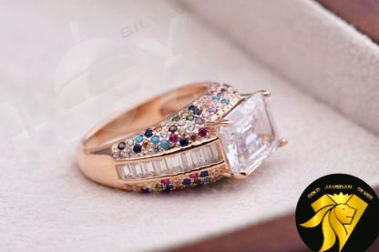 انگشتر تک جواهری نقره رنگی آنتیک رز گلد