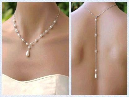گردنبند پشت گردنی نقره روکش طلا سفید