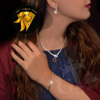 سرویس جواهری فلاور روکش طلا سفید
