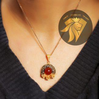 مدال نقره عقیق روکش طلا زرد