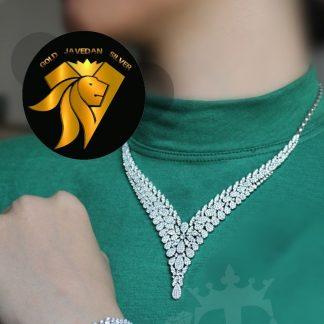 سرویس جواهری روکش طلا سفید نگین اتم اتریشی