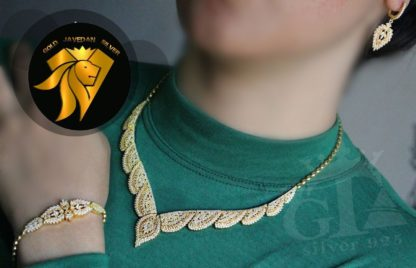 سرویس جواهری دورنگ نقره 925 عیار روکش طلا