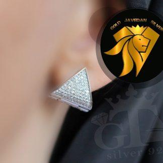 گوشواره نقره جواهری روکش طلا سفید