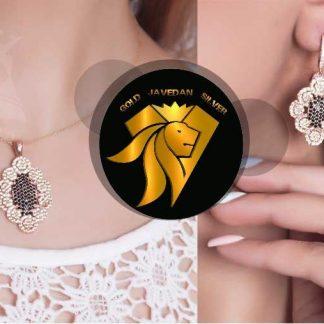 نیم ست جواهری نقره 925 عیار روکش طلا سفید
