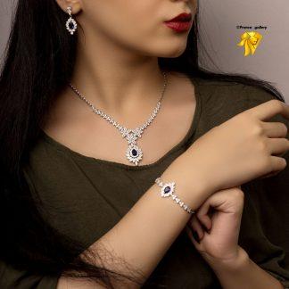 سرویس جواهری یاقوت کبود نقره روکش طلا سفید