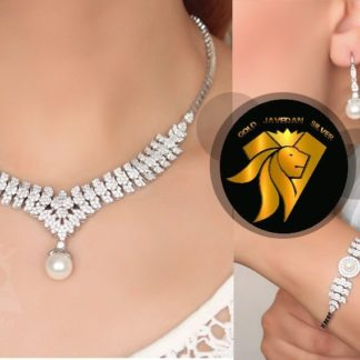 سرویس جواهری برگی مروارید روکش طلا سفید