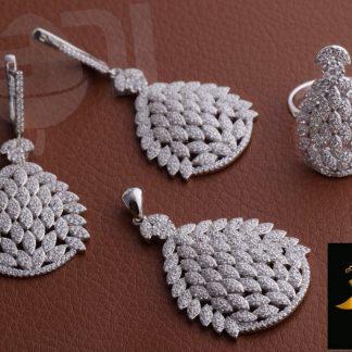 نیم ست جواهری آنتیک میکرو روکش طلا سفید
