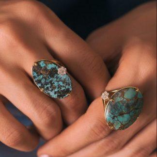 انگشتر زنانه آنتیک فیروزه اصل نیشابوری