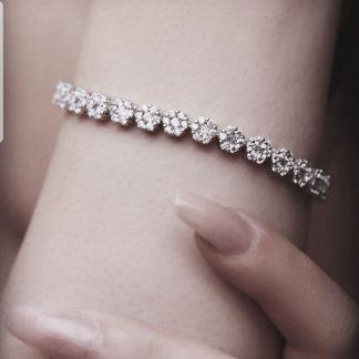 دستبند جواهری فلاور زیبا روکش طلا سفید