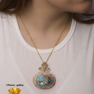 مدال جواهری سلطنتی فیروزه سه طبقه روکش طلا سفید