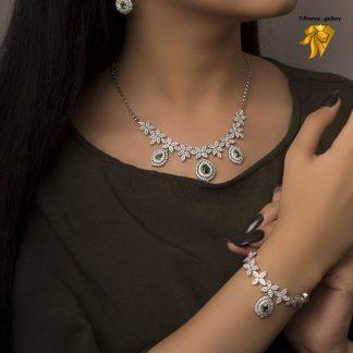 سرویس جواهری برگی درجه یک روکش طلا سفید