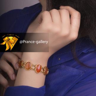 دستبند عقیق یمنی اصل روکش طلا زرد