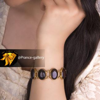 دستبند عقیق زنانه روکش طلای زرد