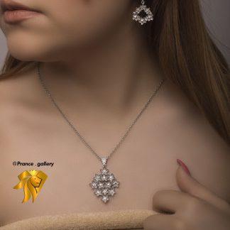 نیم ست جواهری گل نقره با روکش طلا سفید