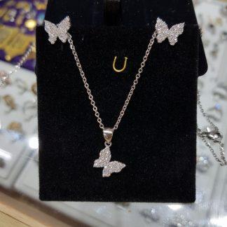 نیم ست جواهری پروانه زیبا نقره روکش طلا سفید