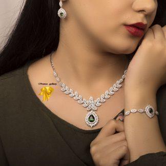 سرویس جواهری برگی نقره 925 عیار روکش طلا