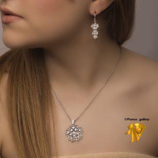نیم ست جواهری گل نقره 925 روکش طلا سفید