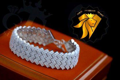 دستبند جواهری نقره 925 عیار روکش طلا نگین اتریشی
