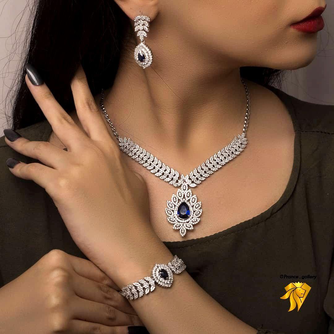 سرویس جواهری یاقوت روکش طلا سفید