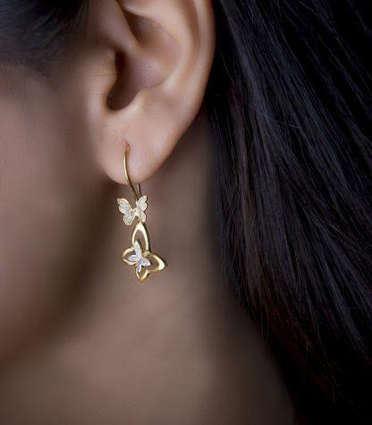 گوشواره پروانه نقره روکش طلا سفید زرد