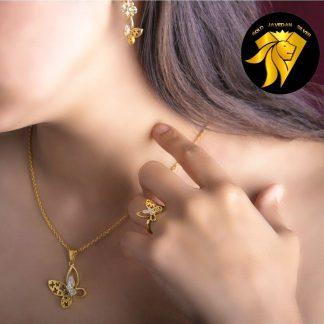 نیم ست گوشواره و انگشتر پروانه روکش طلا