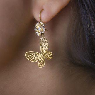 گوشواره نقره آویز پروانه روکش طلا