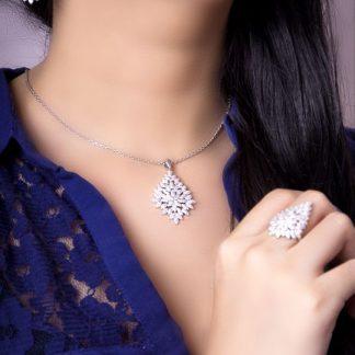 نیم ست جواهری برگی زیبا نقره روکش طلا