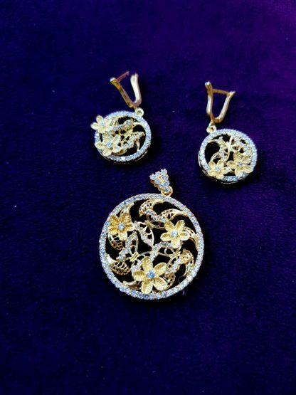 نیم ست نقره زیبا و خاص مدل گل طرح طلا