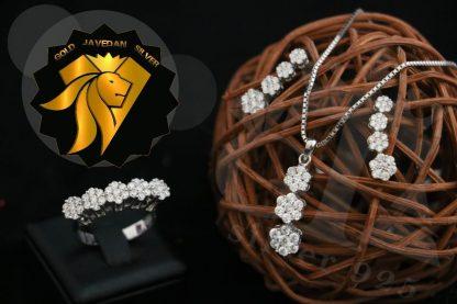 نیم ست فلاوری جواهر نقره روکش طلا