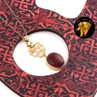 مدال عقیق فاخر یمنی اصل با زنجیر