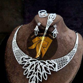 سرویس جواهری نقره 925 عیار طرح طلا