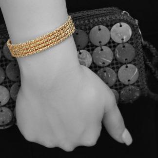 دستبند تراش ایتالیایی نقره روکش طلا زرد