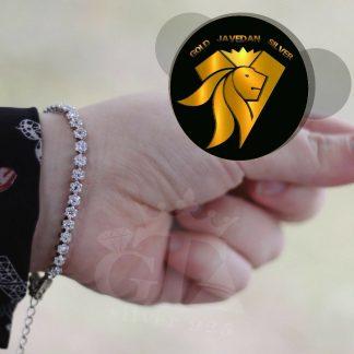 دستبند جواهری فلاور نگین دار نقره روکش طلا