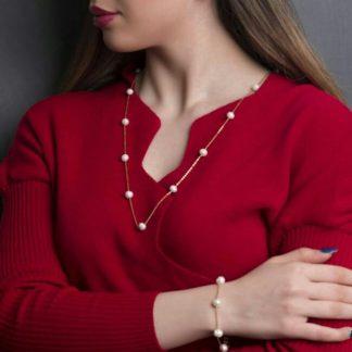 رو لباسی مروارید اصل با زنجیر نقره