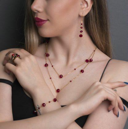 ست گردنبند گوشواره دستبند عقیق قرمز