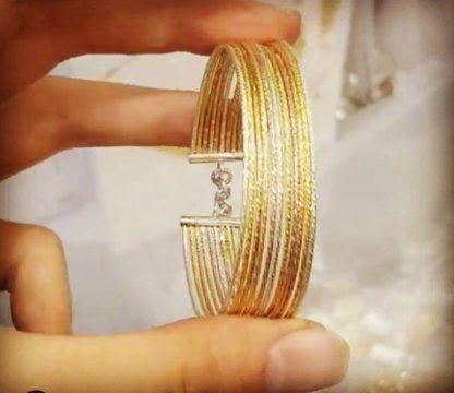 دستبند طرح طلا با روکش طلا سه رنگ ایتالیایی