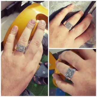 انگشتر مارکازیت آنتیک نگین الماس تراش