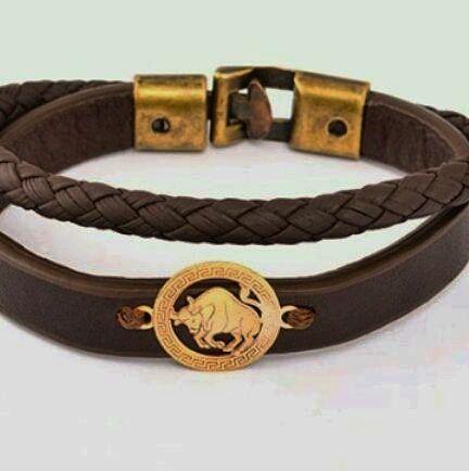 دستبند ماه تولد نقره روکش طلا و چرم اصل