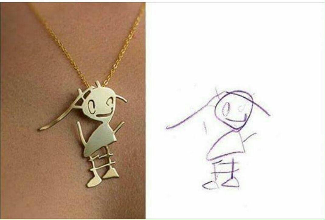 ایده ساخت گردنبند طلا و نقره از روی نقاشی کودکان