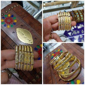 النگو نقره روکش طلا زرد یزدی 24 عیار