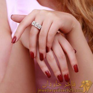 انگشتر جواهر طرح طلا نگین اتریشی بازو پهن