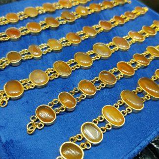 دستبند عقیق یمنی اصل نقره آبکاری طلا زرد