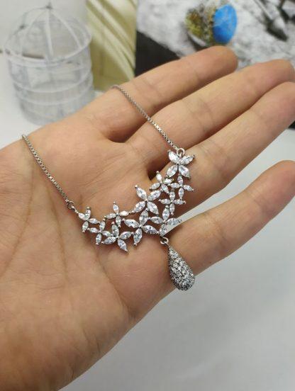 گردنبند جواهری مارکیز نقره روکش طلا سفید