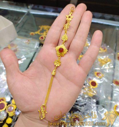 دستبند طرح زیر خاکی عقیق سرخ