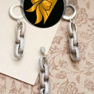 ست جواهرات نقره 925 روکش طلا سفید مدل زنجیر