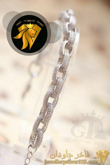 دستبند نقره 925 روکش طلا سفید نگین اتریشی مدل زنجیر