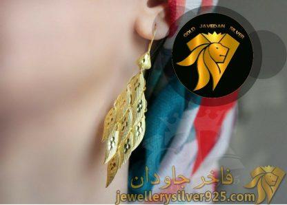 گوشواره نقره ضد حساسیت روکش طلا زرد
