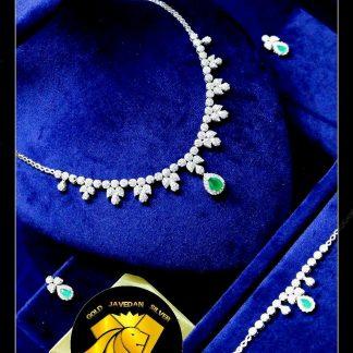 سرویس جواهری زمرد نقره با روکش طلا سفید