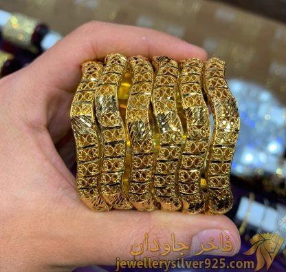 النگو نقره عربی هندی رنگ طلایی عیار 925